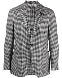 """Мужской черно-белый льняной пиджак с узором """"гусиные лапки"""" от Lardini"""