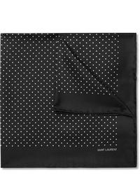 Черно-белый нагрудный платок в горошек от Saint Laurent