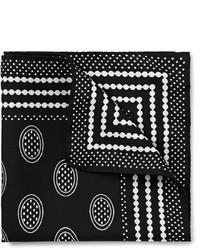 Черно-белый нагрудный платок с принтом