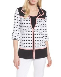 Черно-белый пиджак с принтом
