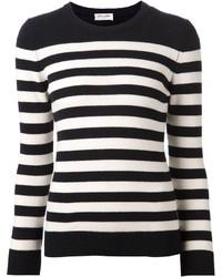Черно-белый свитер с круглым вырезом в горизонтальную полоску