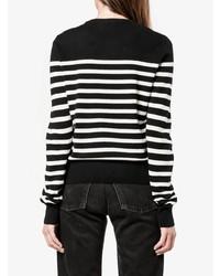 Женский черно-белый свитер с круглым вырезом в горизонтальную полоску от Saint Laurent