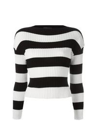 Женский черно-белый свитер с круглым вырезом в горизонтальную полоску от Boutique Moschino