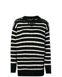 Женский черно-белый свитер с круглым вырезом в горизонтальную полоску от Ermanno Scervino