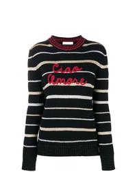 Женский черно-белый свитер с круглым вырезом в горизонтальную полоску от Giada Benincasa