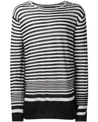 Мужской черно-белый свитер с круглым вырезом в горизонтальную полоску от Haider Ackermann