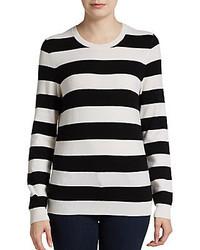 Женский черно-белый свитер с круглым вырезом в горизонтальную полоску от Joie