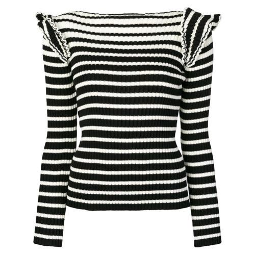 Женский черно-белый свитер с круглым вырезом в горизонтальную полоску от MSGM