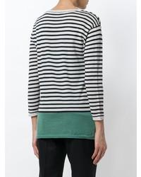 Женский черно-белый свитер с круглым вырезом в горизонтальную полоску от Aspesi
