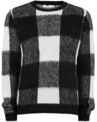 Черно-белый свитер с круглым вырезом в клетку