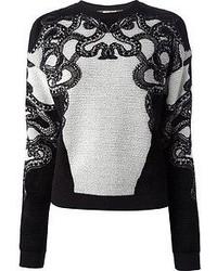 Черно-белый свитер с круглым вырезом с вышивкой