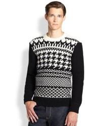 Черно-белый свитер с круглым вырезом с жаккардовым узором