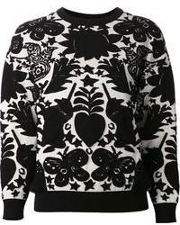 Черно-белый свитер с круглым вырезом с принтом