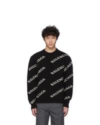 Мужской черно-белый свитер с круглым вырезом с принтом от Balenciaga