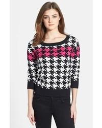 """Черно-белый свитер с круглым вырезом с узором """"гусиные лапки"""""""
