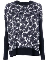 Черно-белый свитер с круглым вырезом с цветочным принтом
