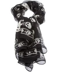 Черно-белый шарф с принтом