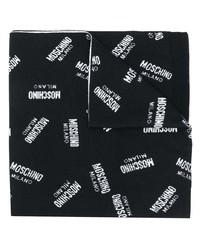 Мужской черно-белый шарф с принтом от Moschino