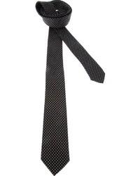 Черно-белый шелковый галстук в горошек