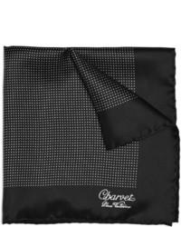 Черно-белый шелковый нагрудный платок в горошек от Charvet