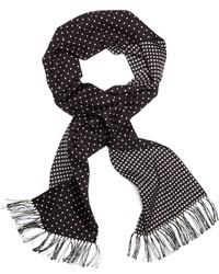 Черно-белый шелковый шарф в горошек