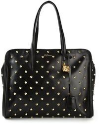 Черно-золотая кожаная большая сумка с шипами