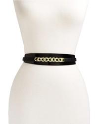 Черно-золотой кожаный ремень с украшением