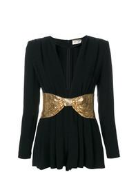 Черно-золотой комбинезон с шортами