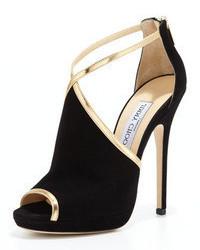 Черно-золотые замшевые босоножки на каблуке