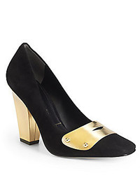 Черно-золотые замшевые туфли с украшением