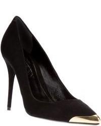 Черно-золотые замшевые туфли