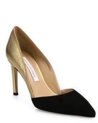 Женские черно-золотые замшевые туфли от Diane von Furstenberg