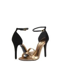 Черно-золотые кожаные босоножки на каблуке