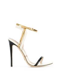 Женские черно-золотые кожаные босоножки на каблуке от Gianni Renzi