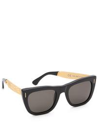 Женские черно-золотые солнцезащитные очки