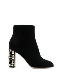 Черные бархатные ботильоны с украшением от Dolce & Gabbana