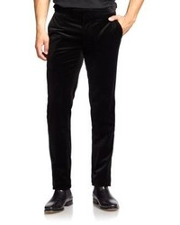 Черные бархатные классические брюки