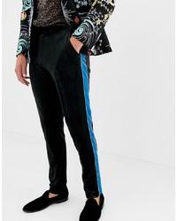 Мужские черные бархатные классические брюки от ASOS DESIGN