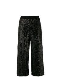 Черные брюки-кюлоты с пайетками