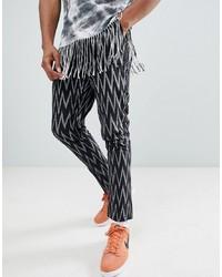 Черные брюки чинос с геометрическим рисунком от ASOS DESIGN