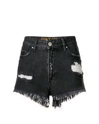 Черные джинсовые рваные шорты