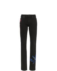 Черные джинсы скинни с принтом тай-дай