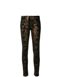 Черные джинсы скинни с принтом от Just Cavalli