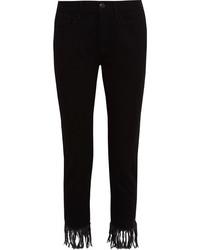 Черные джинсы c бахромой