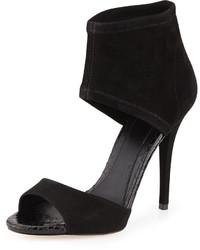 Черные замшевые босоножки на каблуке
