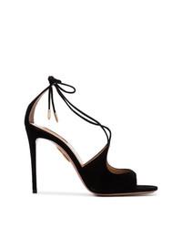 Черные замшевые босоножки на каблуке от Aquazzura