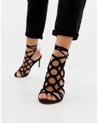 Черные замшевые босоножки на каблуке от ASOS DESIGN