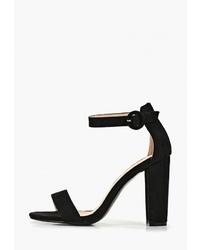 Черные замшевые босоножки на каблуке от Diamantique