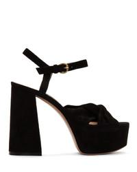 Черные замшевые босоножки на каблуке от Gianvito Rossi