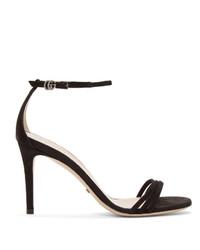 Черные замшевые босоножки на каблуке от Gucci